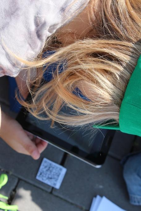 Die Kinder konnten sich an einem Tablet-PC ausprobieren